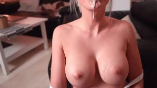 Cum flows on her face and on her breasts