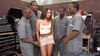 Bukkaked slut blows black